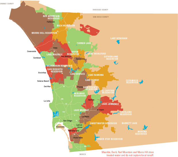 Map of San Diego Region\'s Reservoirs
