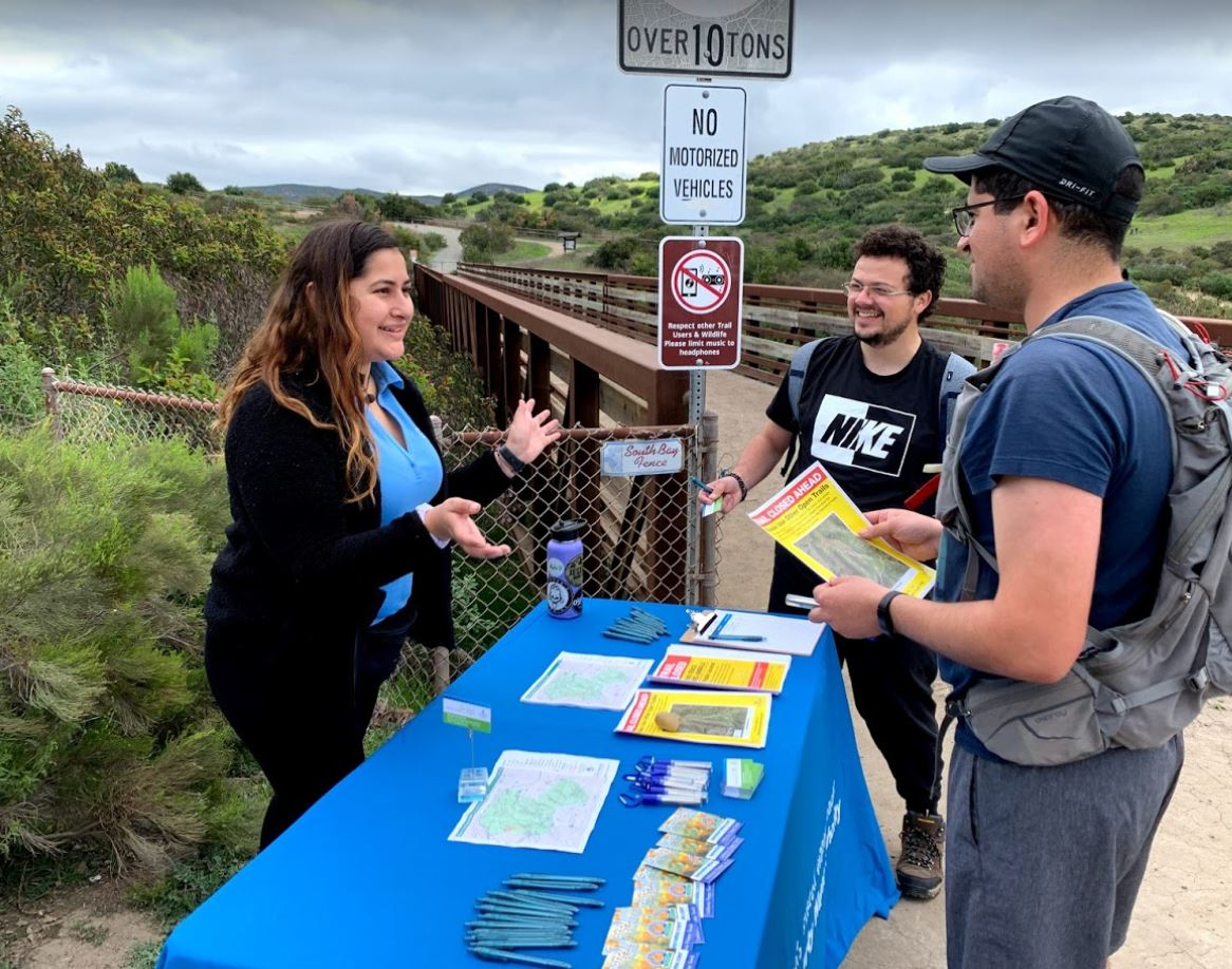 Water Authority staff share project and trail closure information with park users