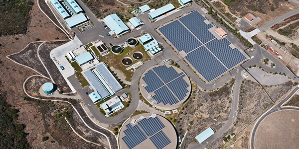 solar power water processing plant aerieal view