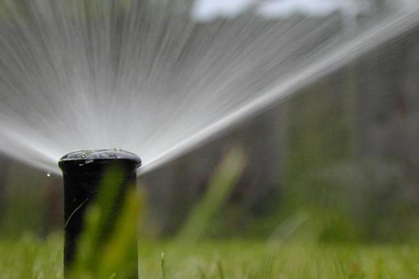 closeup of lawn sprinkler
