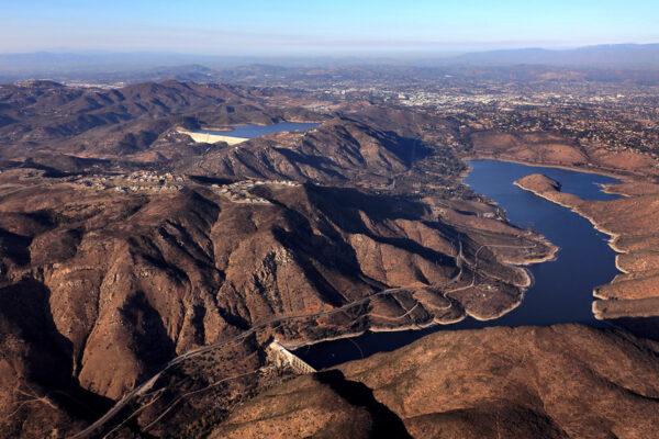 aerial of a reservoir