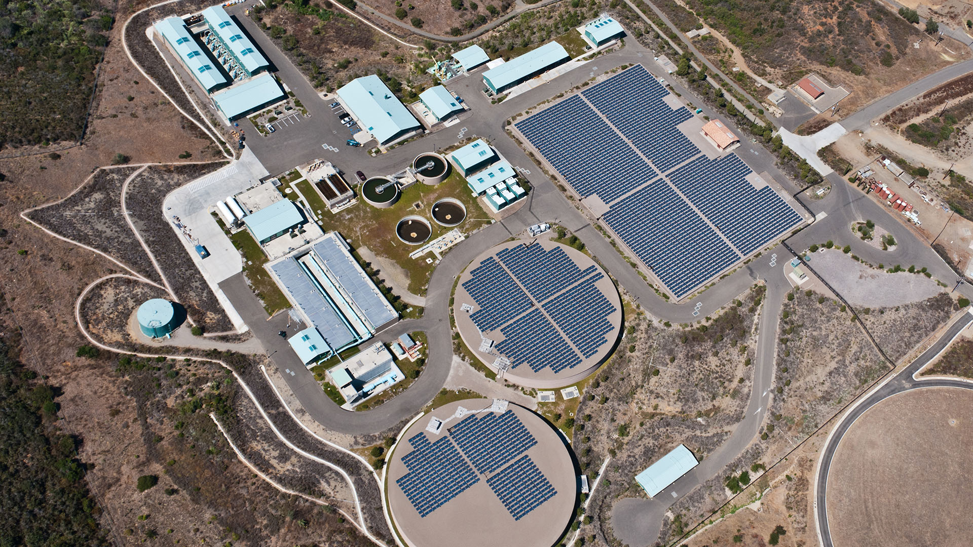 aerial view of water cleaning facility
