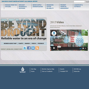 annual report homepage that says beyond drought