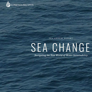 annual report cover says sea change and shows the ocean