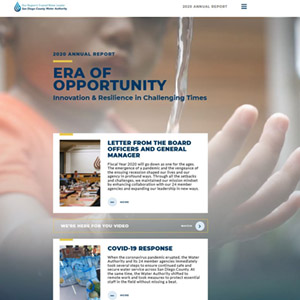 annual report homepage with background video of boy holding hand in dripping water