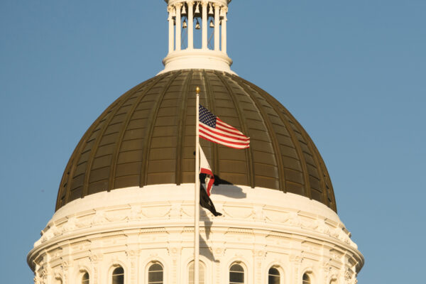 california state building with flags waving