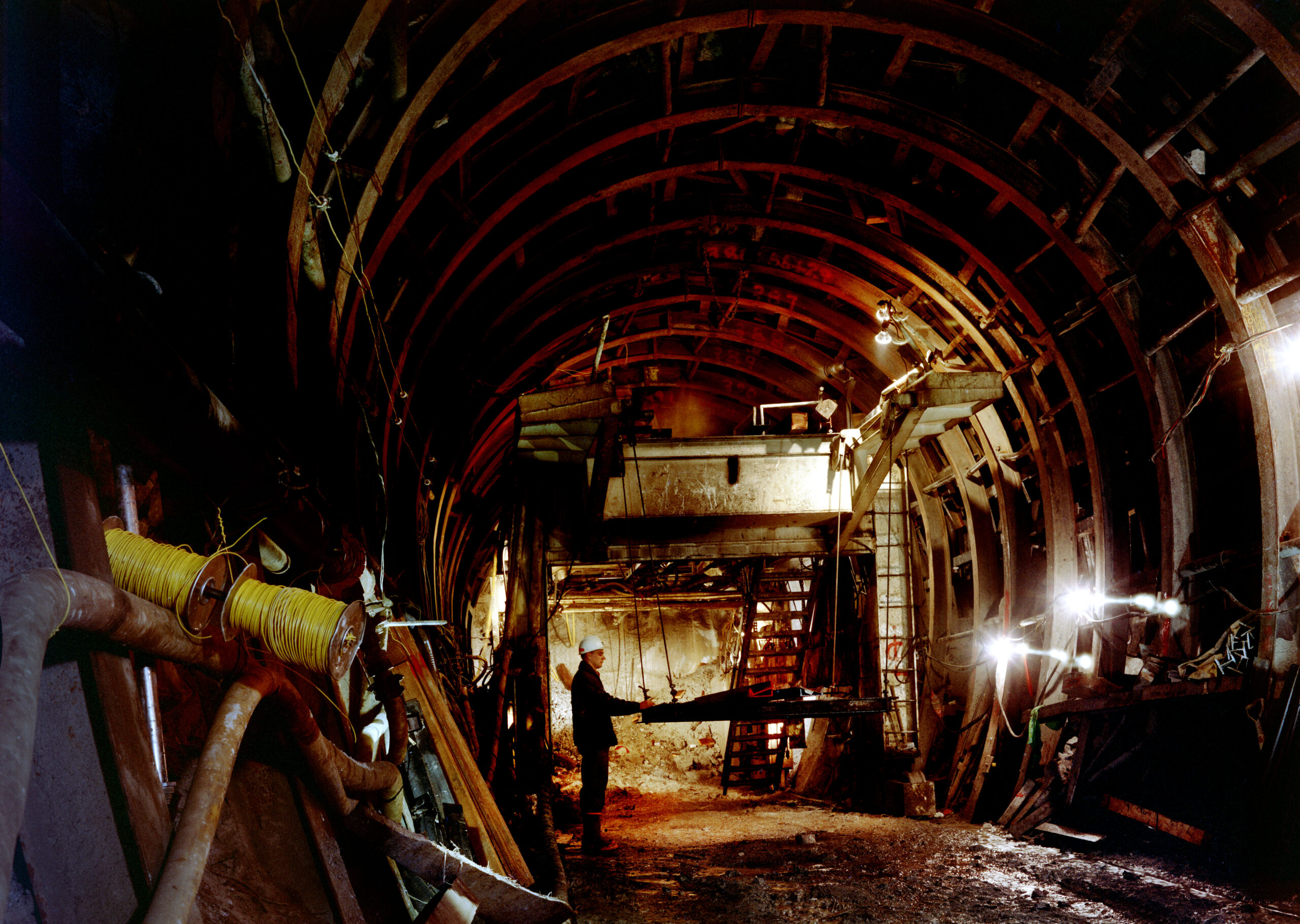 Construction of a A.D. Edmonston Pumping Plant discharge line tunnel. Photo taken October 1967.