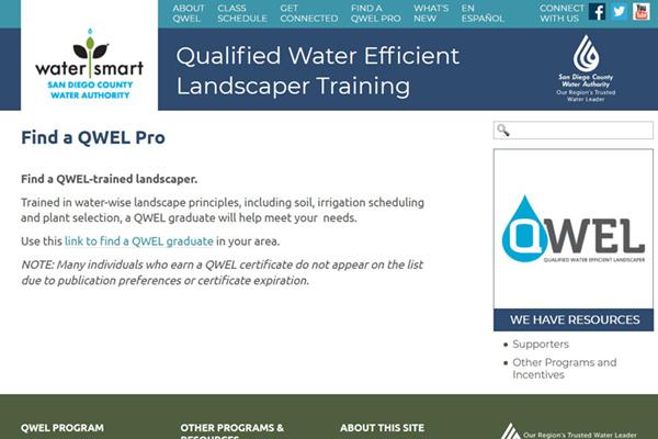 screenshot of QWEL page